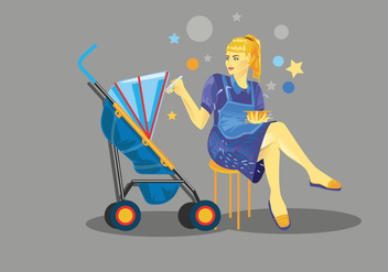 Babysitter Feeding Child Vector - vector #398183 gratis