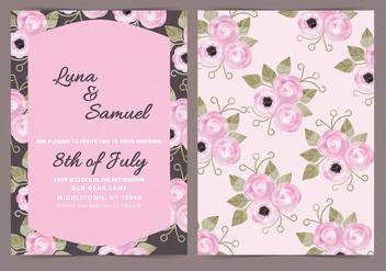 Vector Dark Floral Wedding Invite - Kostenloses vector #398283