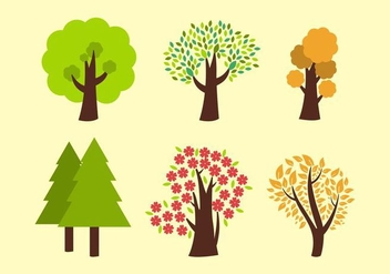 Six Vector Trees - Free vector #398563