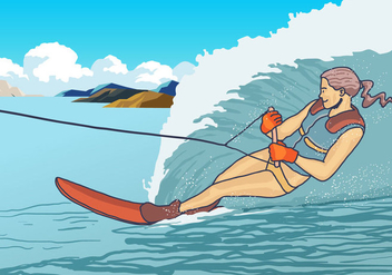 Woman Play Water Skiing Vector - vector gratuit(e) #398713