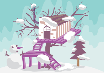 Winter Tree House Vector Illustration - Kostenloses vector #398963