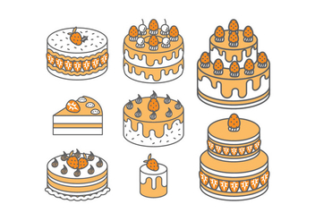 Strawberry Cake Vectors - Free vector #399263