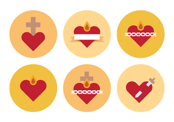 Sacred Hearts Icons - Free vector #399273
