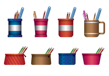 Pencil Case Vector - Free vector #399353