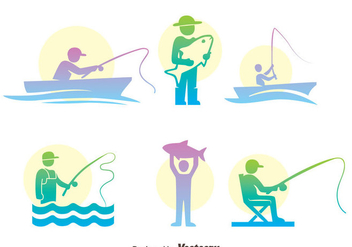 Fishing Fish Colorful Icons Vector Set - Free vector #400313