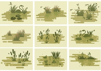 Free Swamp Lakes Vector Illustration - Free vector #400653