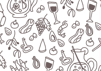 Spanish Food Pattern - vector gratuit #400843