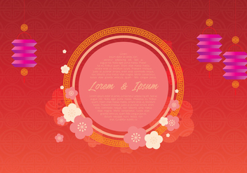 Chinese Wedding Template Illustration - Free vector #400873