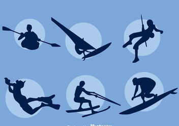 Extreme Water Sport Silhouette Vector Set - Free vector #401213