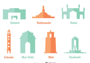 Asian Landmark Vector Set - Free vector #401253