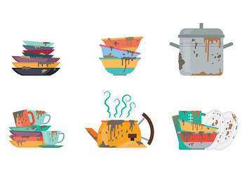 Free Dirty Dishes Icons Vector - Free vector #401483