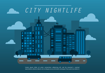 Midnight Blue Flat Cityscape Vector Background - Kostenloses vector #401663