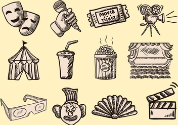 Hand Drawn Doodle Theatre - vector #401943 gratis