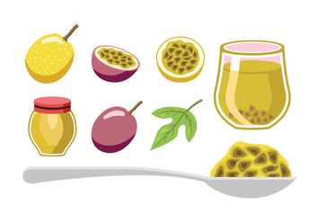 Passion Fruit Element Vectors - Free vector #402033