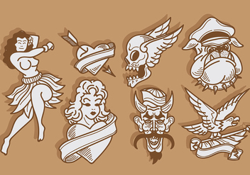 Free Old School Tattoo Icons Vector - Free vector #402233