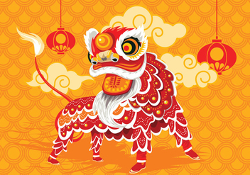 Vector Illustration Traditional Chinese Lion Dance Festival Background - Free vector #402423