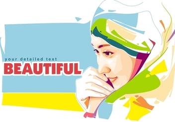 Beautiful Girl in Popart Portrait - vector #402583 gratis