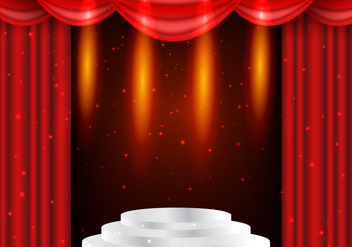 Theater Red Curtains With Lightning Background - бесплатный vector #402763