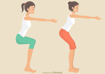 Free Girls Doing Squat Vector Illustration - Free vector #403733