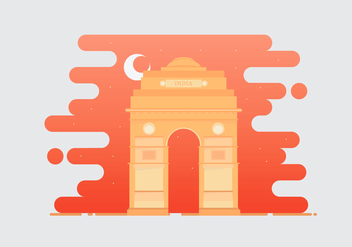India Gate Landmark Illustration - vector gratuit #404783