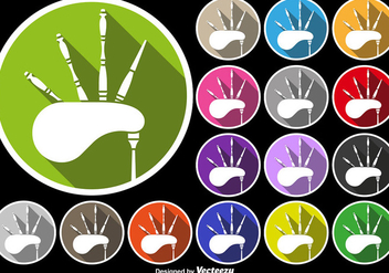 Bagpipe Icon Colorful Buttons Set - Kostenloses vector #404893