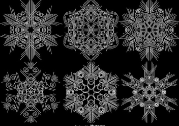 Vector Set Of Ornamental Snowflakes - Free vector #404933