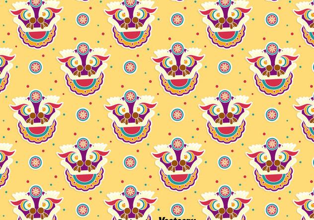 Funny Lion Dance Seamless Pattern - vector gratuit(e) #405083