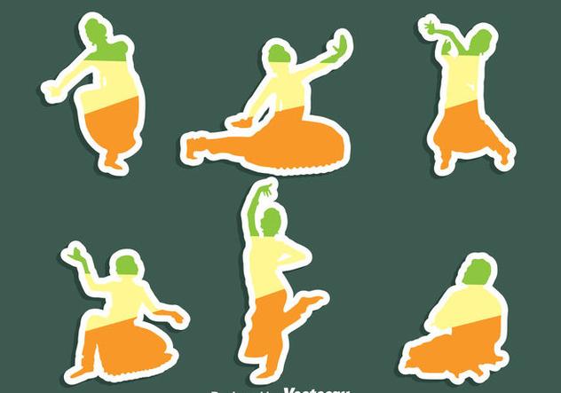 Bollywood Dance Sticker Vector Set - vector gratuit(e) #405103