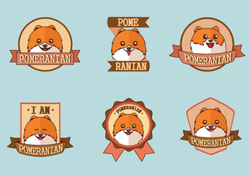 Cute Pomeranian Dog Logo Label Vectors - vector gratuit #405413