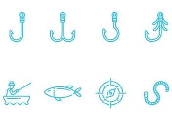 Fishing Icons Vectors - Free vector #405513
