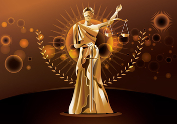 Statue of Justice on Brown Background - vector #405673 gratis
