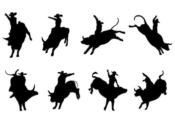 Free Silhouette Bull Rider Vector - Free vector #406063