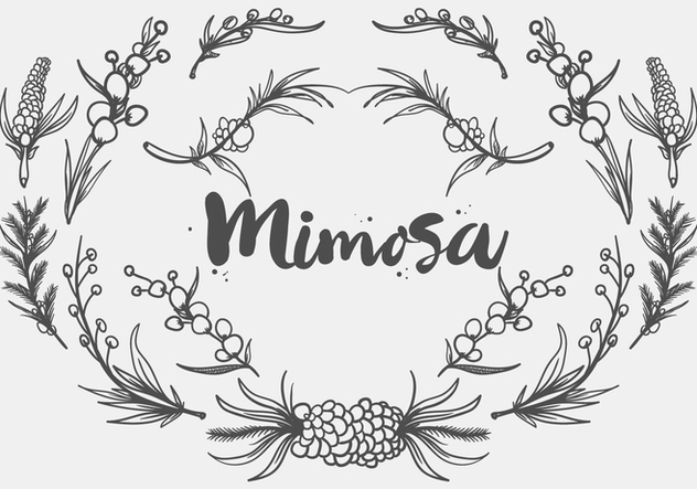 Free Hand Drawn Mimosa Plant Vector - Free vector #406073