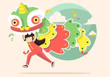Lion Dance Vector Illustration - Free vector #406363