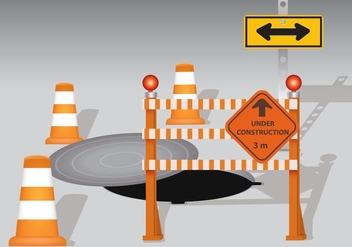 Manhole With Cone And Board Warning - Free vector #406533