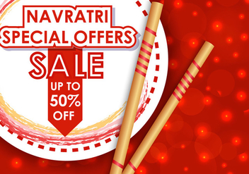 Happy Navrati Sale Offers Illustration - vector #406573 gratis