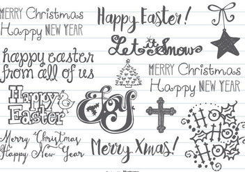 Hand Drawn Christmas & Easter Doodles - Free vector #406693
