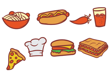 Hand Drawn Food Vector Set - Free vector #406893