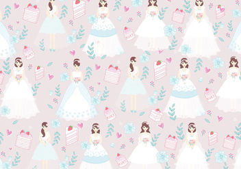 Bride and Bridesmaid Pattern Vector - бесплатный vector #406943