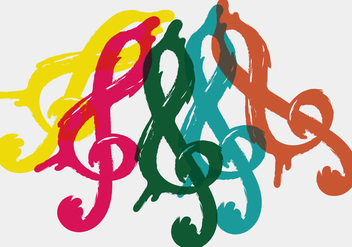Colorful Violin Key - vector gratuit #407153