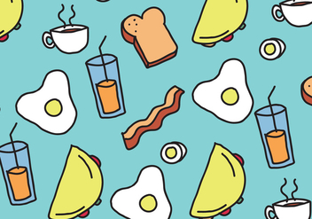 Breakfast Food Pattern - Free vector #407433