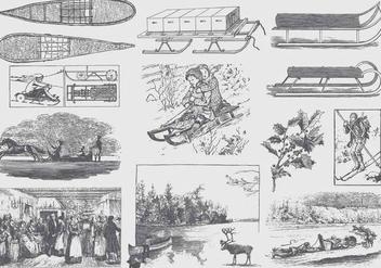 Gray Vintage Winter Illustrations - бесплатный vector #407473