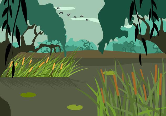 Free Swamp Illustration Vector - Free vector #407553