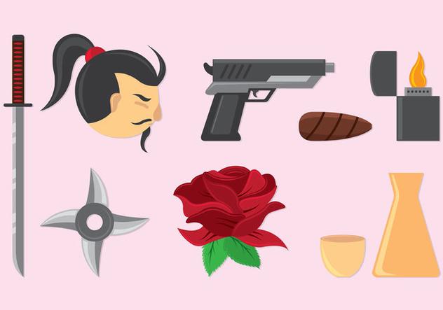 Set Of Yakuza Icons - vector #407843 gratis