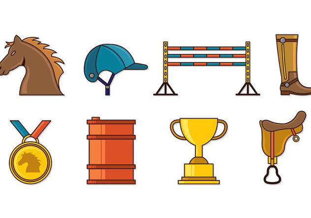 Set Of Barrel Racing Icons - vector #407853 gratis