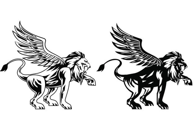 Black Winged Lion Vectors - vector #407873 gratis