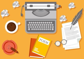 Free Writer Workspace Vector Illustration - бесплатный vector #407883