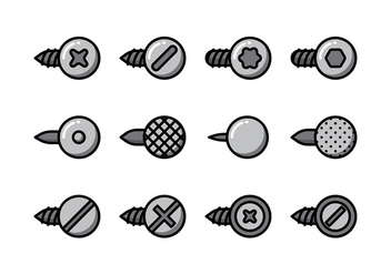 Nail Head Vector Set - vector gratuit #408043