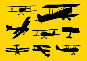 Biplane Silhouette Vector - Free vector #408113