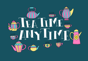 Tea time anytime lettering - vector gratuit #408203